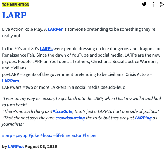 LARP definition from Urban Dictionary